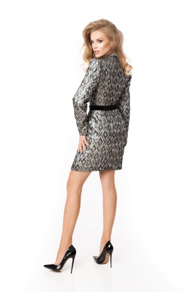 LONG SLEEVE BELTED JACQUARD DRESS